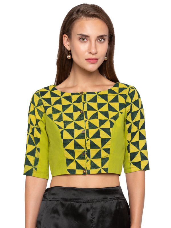 Just B green printed pattern cotton blouse