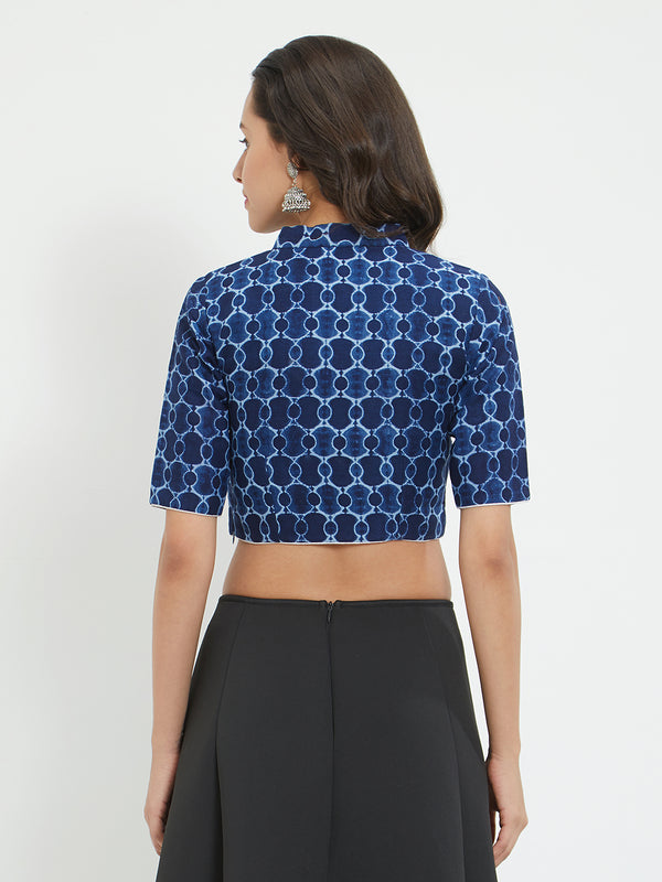 Just B  blue indigo printed cotton blouse