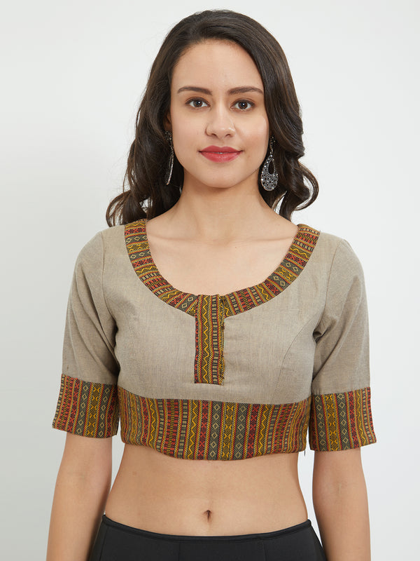 Just B Beige Cotton  Round Neck Blouse