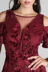Annalisa Wine  Lace Dress