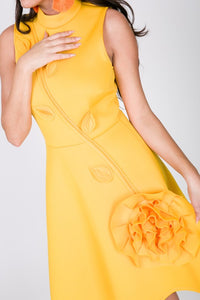 Yellow Rosette Skater Dress