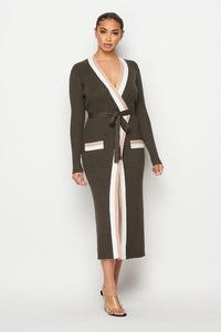 Block Duster Wrap Dress