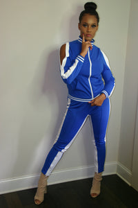 Lisa Blue White Stripe Jogger Set