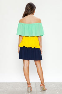 Color Block Ruffle Tiered Dress