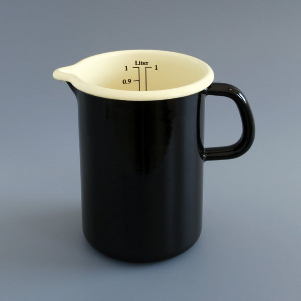 Enamel Measuring Jug Black