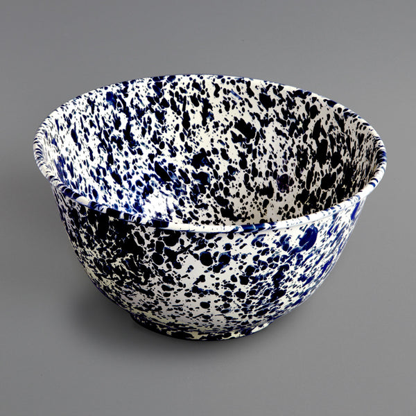 Marbled Enamel Salad Bowl Navy