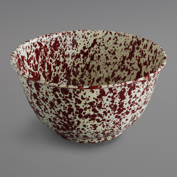 Marbled Enamel Salad Bowl Burgundy