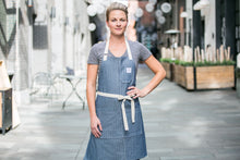 Load image into Gallery viewer, Blue Herringbone Apron