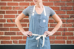 Blue Herringbone Apron