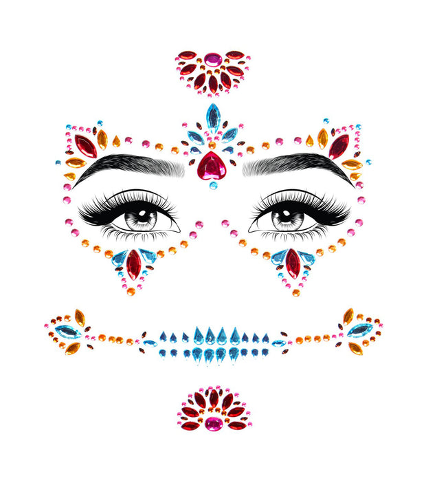 Sugar Skull Day Of The Dead Adhesive Face Jewels - Costumes & Lingerie Australia