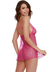 Chasin Hearts 2-Piece Heart Embroidery Mesh Chemise Set - Costumes & Lingerie Australia