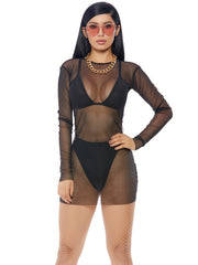 Black Long Sleeve Sheer Mesh Mini Dress DIY Halloween Costume