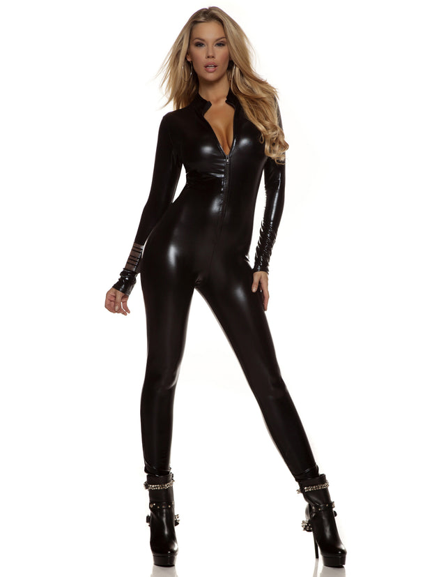 Sexy Cat Woman or Super Hero Black Metallic Zipfront Catsuit - Costumes & Lingerie Australia