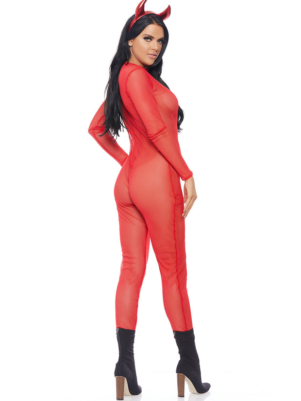 Red Sheer Mesh Micronet Catsuit