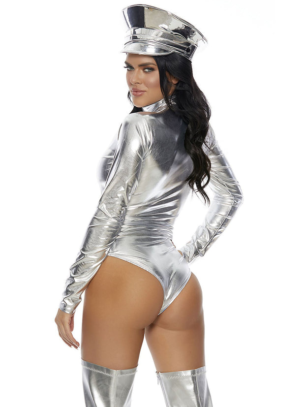 Sexy Silver Wetlook Vinyl Leather Shiny Long Sleeve Zipper Bodycon Bodysuit - Costumes & Lingerie Australia