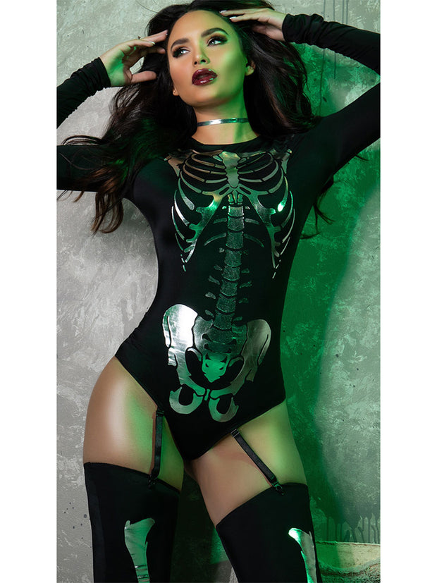 Sexy Snazzy Skeleton Bodysuit Halloween Costume - Shop Fortune Costumes Lingerie