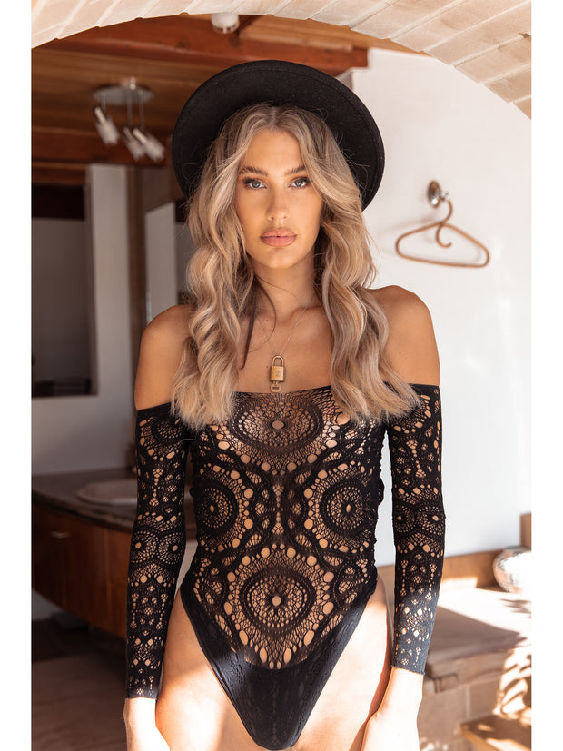 Stevie Black Crochet Lace Bodysuit - Costumes & Lingerie Australia