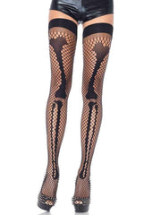 Womens Halloween Fishnet Skeleton Thigh High Tights - Costumes & Lingerie Australia