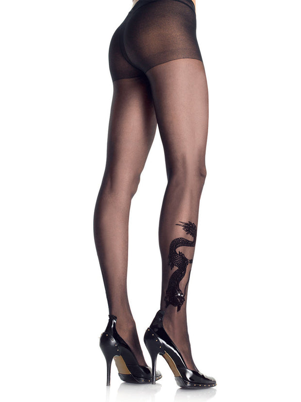 Sheer Pantyhose with flock Dragon Tattoo Print & Rhinestone eyes - Costumes & Lingerie Australia