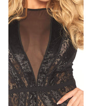 So In Love Black Velvet & Lace Bodysuit - Costumes & Lingerie Australia