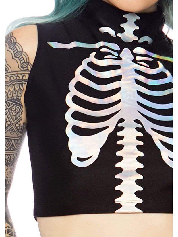 Holographic Skeleton Womens Halloween Costume