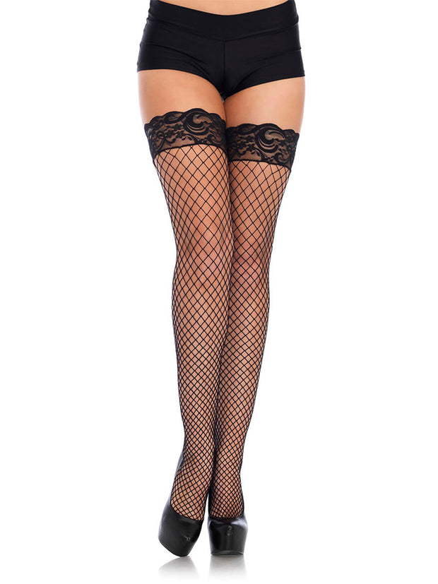 Black Lace top Industrial Net Fishnet Tights with Back Seam