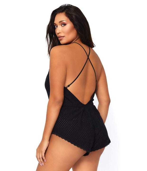 Dreaming in Slumber Plus Size Lace Up Eyelet Romper - Costumes & Lingerie Australia