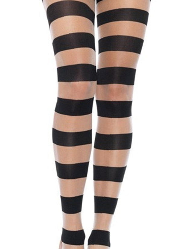 Glam Womens Black & Nude Striped Pantyhose - Costumes & Lingerie Australia