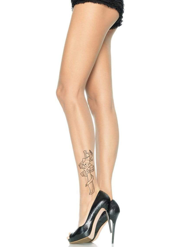 Sexy Sheer Nude Tattoo Print Tights - Costumes & Lingerie Australia