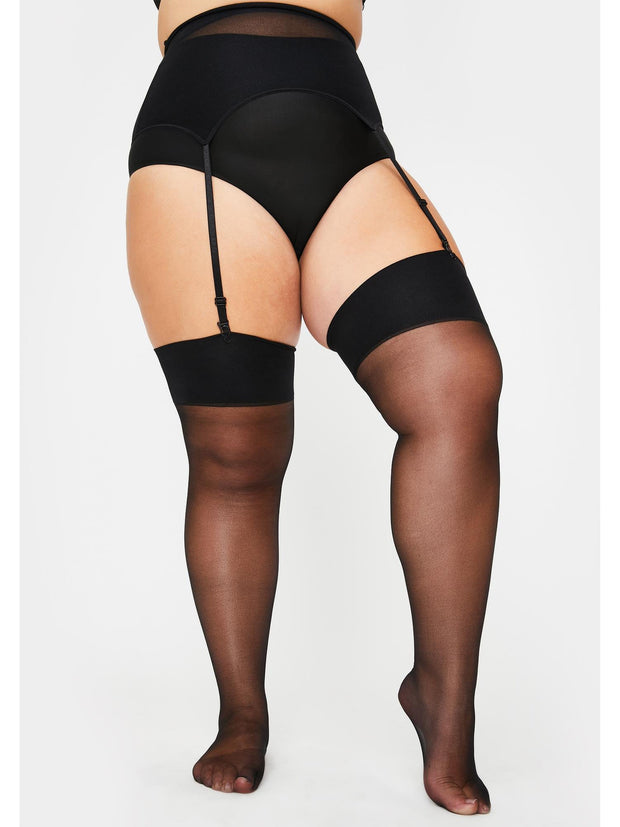 Plus Size Garter Belt & Thigh High Stocking Set - Costumes & Lingerie Australia