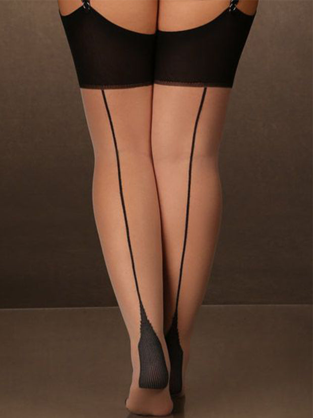 Plus Size Sheer Nude Thigh High Stockings with Black Cuban Heel Backseam.