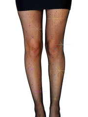 Rainbow Rhinestone Fishnet Tights Black