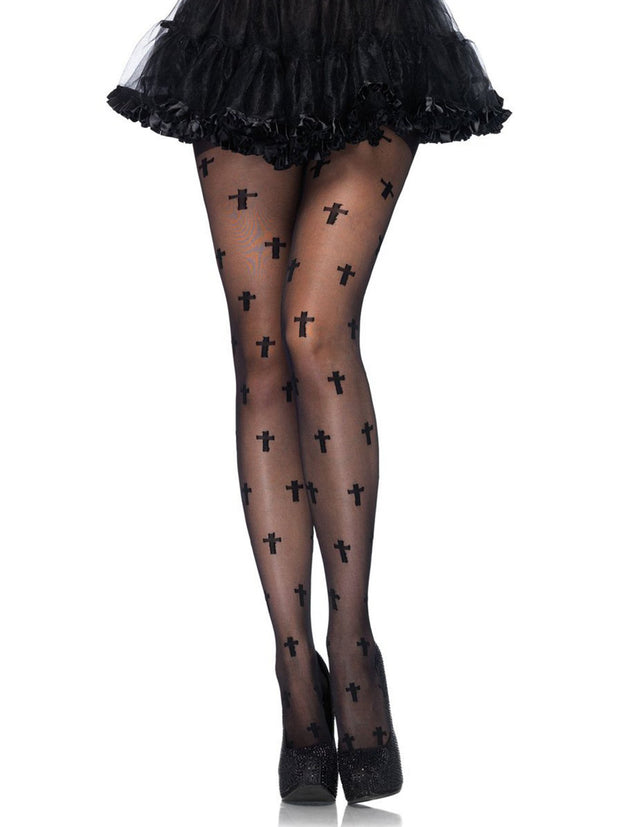 Halloween Gothic Sheer Cross Pattern Pantyhose - Costumes & Lingerie Australia