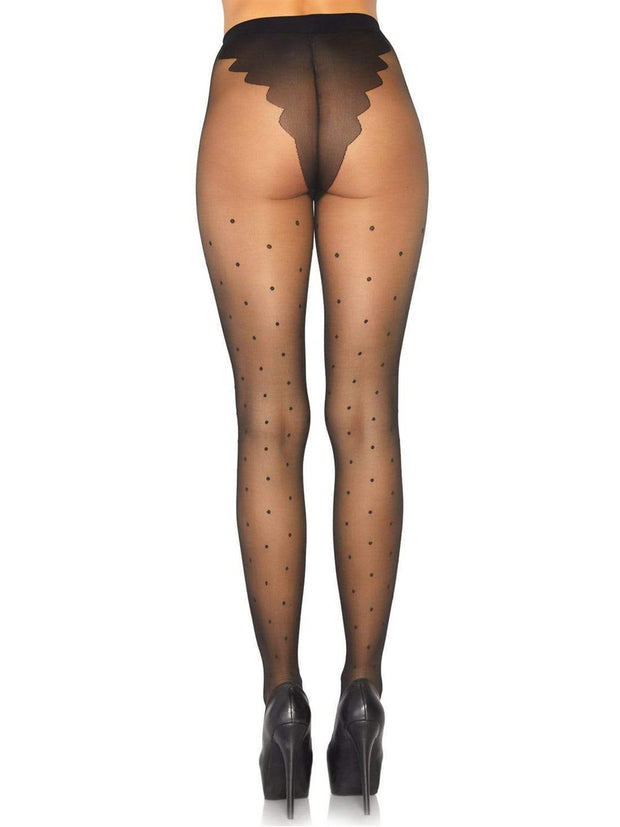 Spandex Sheer French Cut Polka Dot Pantyhose - Costumes & Lingerie Australia