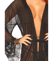 Pretty Gift Wrapped Short Sheer Black Lace Robe - Costumes & Lingerie Australia