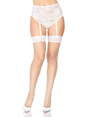White Fence Net Thigh Highs with Lace Top