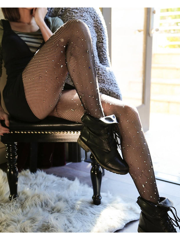 Gunmetal Stud Fishnet Tights - Costumes & Lingerie Australia