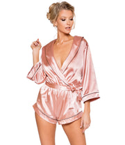 Midnight Lounging Collared Pink Satin Romper - Costumes & Lingerie Australia
