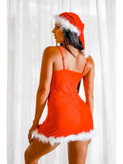 Red Mesh Christmas Chemise with Marabou Feather Trim