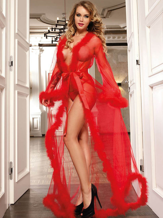 Red Mesh Full Length Gown with Marabou Feather Trim