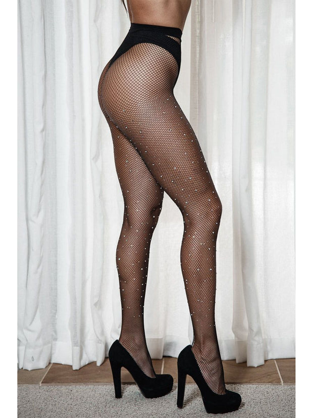 Khloe Black Sparkle Glitter Crystalized Rhinestone Fishnet Tights