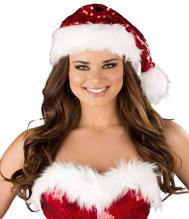 Deluxe Quality Red Sequin with White Fur Trim Santa Hat - Costumes & Lingerie Australia
