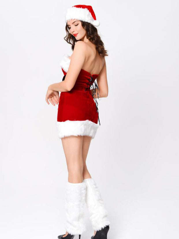 Naughty or Nice Strapless Fitted Red Velvet Santa Dress