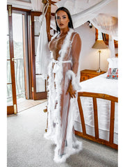 Lil' Angel White Mesh Full Length Gown with Marabou Feather Trim