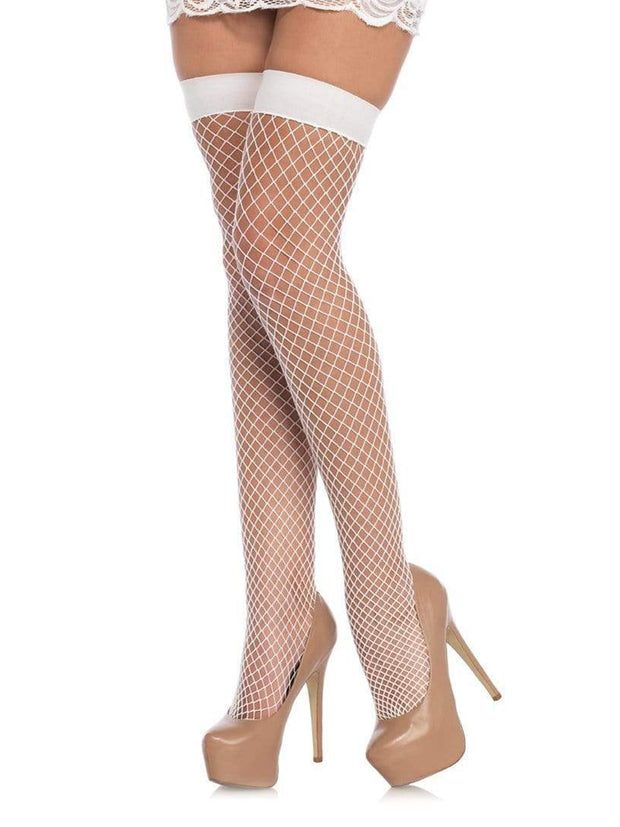White Industrial Net Fish Net Thigh Highs