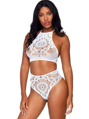 Frenchie White Crochet Lace 2 PC Crop Top & Panty - Costumes & Lingerie Australia