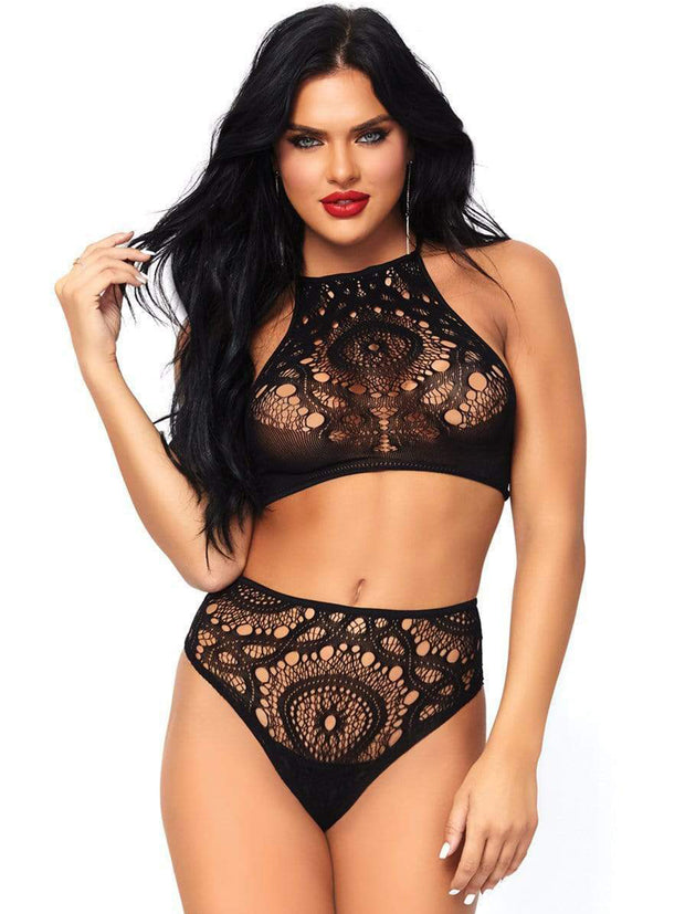 Frenchie Black Crochet Lace 2 PC Crop Top & Panty - Costumes & Lingerie Australia