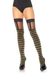 Gold and Black Shimmer Striped Thigh Highs - Costumes & Lingerie Australia