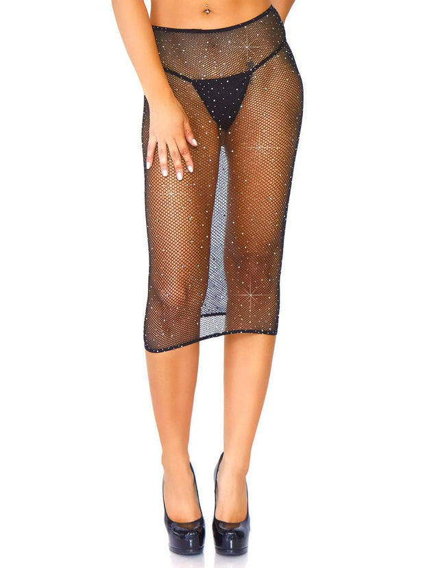 Club Lights Black Crystalised Fishnet Convertible Tube Dress - Costumes & Lingerie Australia