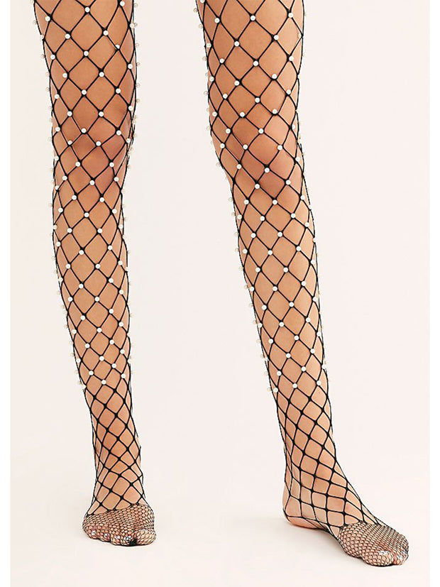 Faux Pearl Embellished Fence Net Tights - Costumes & Lingerie Australia